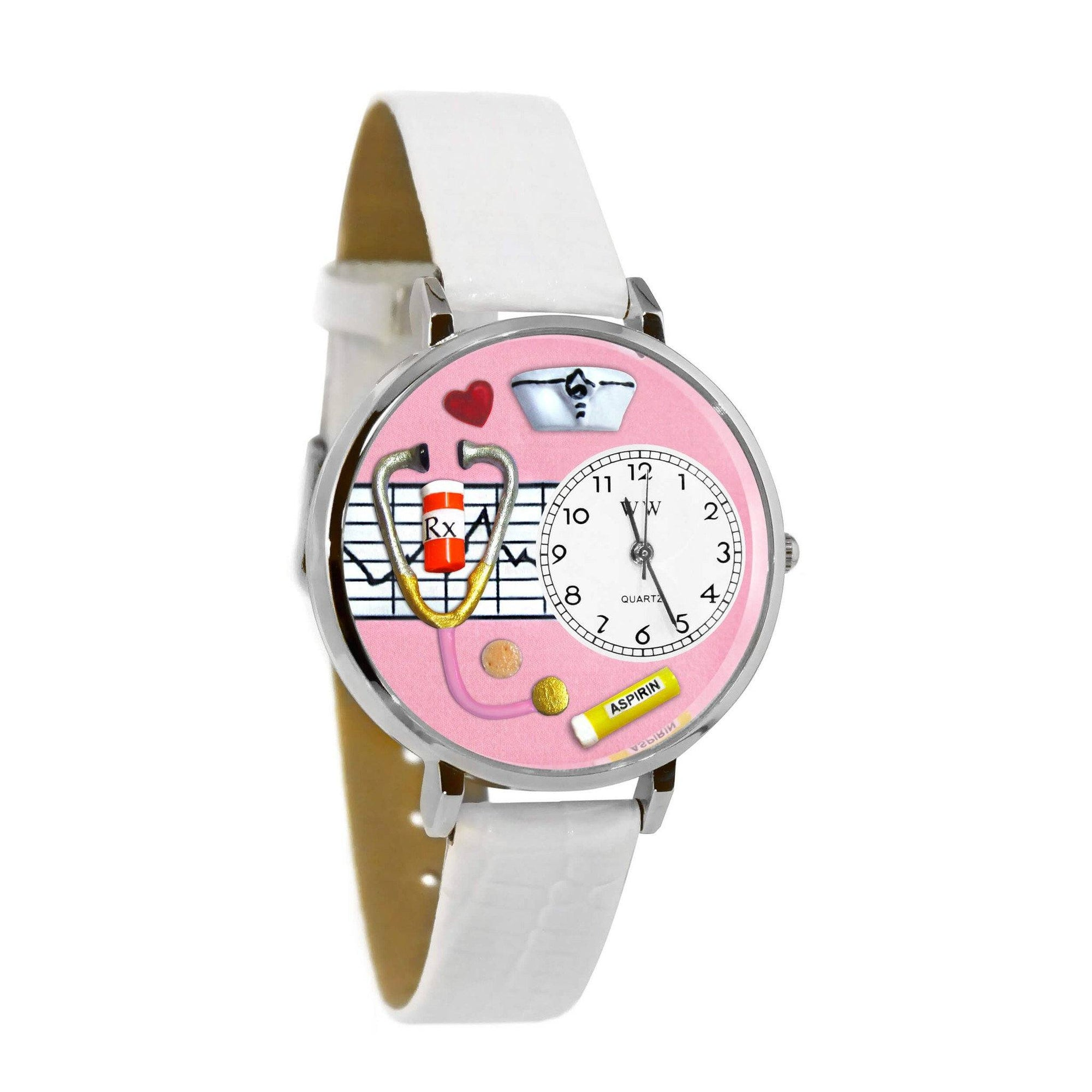 Nurse Pink Watch in Silver (Large)-Watch-Whimsical Gifts-Top Notch Gift Shop