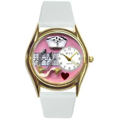 Nurse Pink Watch Small in Gold-Watch-Whimsical Gifts-Top Notch Gift Shop