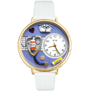 Nurse Purple Watch in Gold (Large)-Watch-Whimsical Gifts-Top Notch Gift Shop