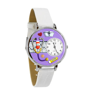Nurse Purple Watch in Silver (Large)-Watch-Whimsical Gifts-Top Notch Gift Shop