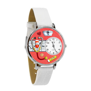 Nurse Red Watch in Silver (Large)-Watch-Whimsical Gifts-Top Notch Gift Shop