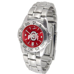 Ohio State Buckeyes Ladies AnoChrome Steel Band Sports Watch-Watch-Suntime-Top Notch Gift Shop