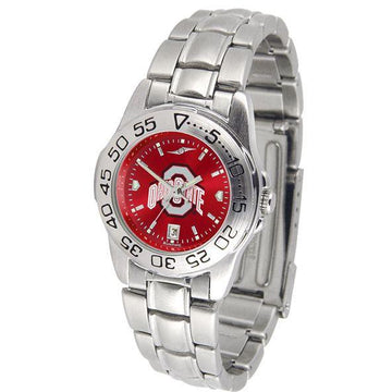 Ohio State Buckeyes Ladies AnoChrome  Steel Band Sports Watch