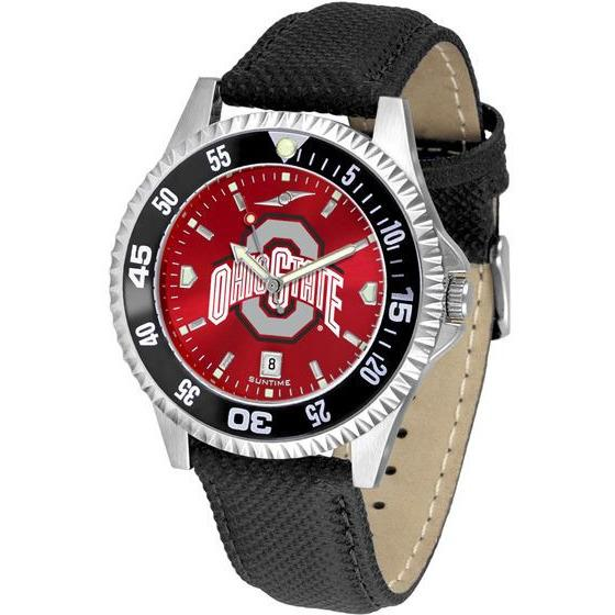 Ohio State Buckeyes Mens Competitor Ano Poly/Leather Band Watch w/ Colored Bezel-Watch-Suntime-Top Notch Gift Shop