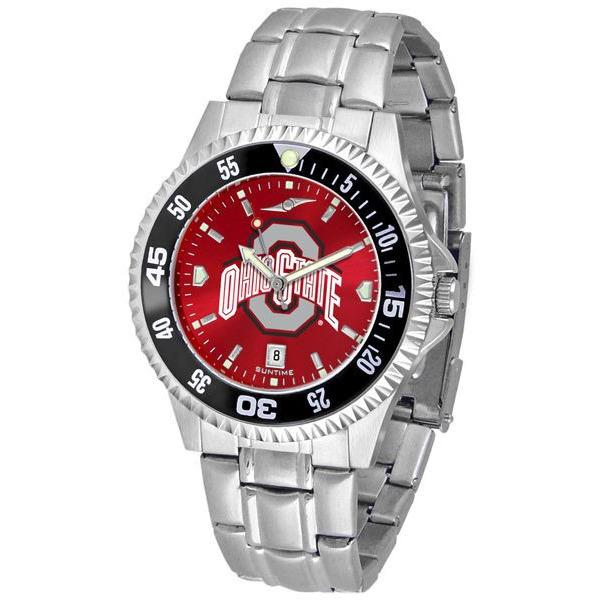 Ohio State Buckeyes Mens Competitor AnoChrome Steel Band Watch w/ Colored Bezel-Watch-Suntime-Top Notch Gift Shop