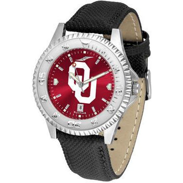 Oklahoma Sooners Competitor AnoChrome - Poly/Leather Band Watch