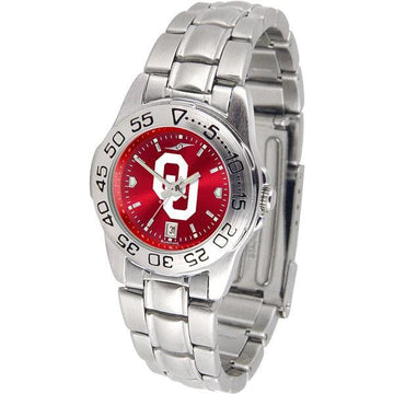 Oklahoma Sooners Ladies AnoChrome  Steel Band Sports Watch