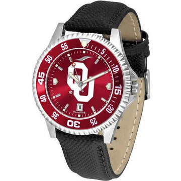 Oklahoma Sooners Mens Competitor Ano Poly/Leather Band Watch w/ Colored Bezel