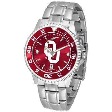 Oklahoma Sooners Mens Competitor AnoChrome Steel Band Watch w/ Colored Bezel