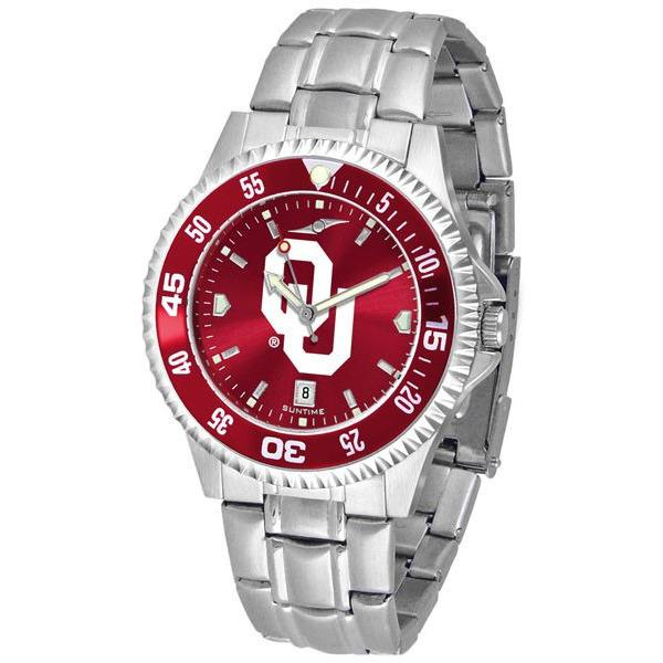 Oklahoma Sooners Mens Competitor AnoChrome Steel Band Watch w/ Colored Bezel-Watch-Suntime-Top Notch Gift Shop