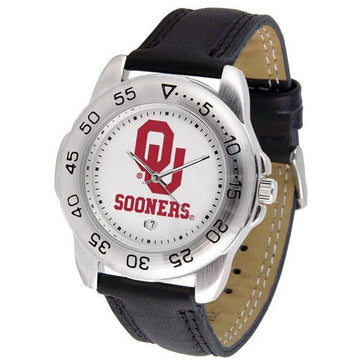Oklahoma Sooners Mens Leather Band Sports Watch