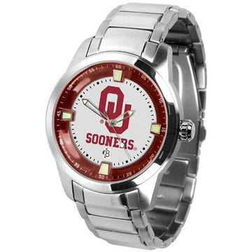 Oklahoma Sooners Men's Titan Stainless Steel Band Watch