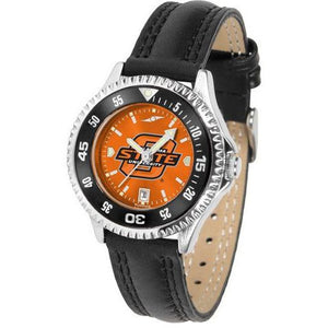 Oklahoma State Cowboys Ladies Competitor Ano Poly/Leather Band Watch w/ Colored Bezel-Watch-Suntime-Top Notch Gift Shop