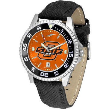 Oklahoma State Cowboys Mens Competitor Ano Poly/Leather Band Watch w/ Colored Bezel