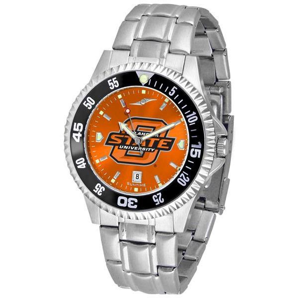 Oklahoma State Cowboys Mens Competitor AnoChrome Steel Band Watch w/ Colored Bezel-Watch-Suntime-Top Notch Gift Shop