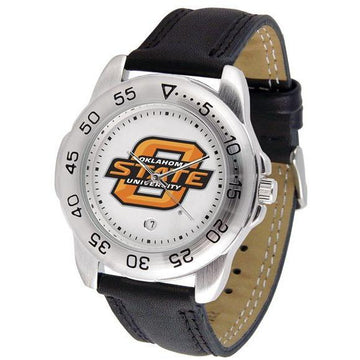 Oklahoma State Cowboys Mens Leather Band Sports Watch
