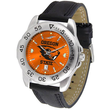 Oregon State Beavers Mens AnoChrome Leather Band Sports Watch