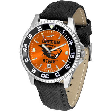 Oregon State Beavers Mens Competitor Ano Poly/Leather Band Watch w/ Colored Bezel