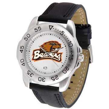 Oregon State Beavers Mens Leather Band Sports Watch
