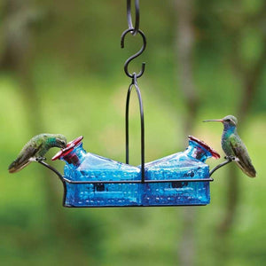Basketweave 2 Perch Hummingbird Feeder - Blue-Bird Feeder-Parasol Gardens-Top Notch Gift Shop