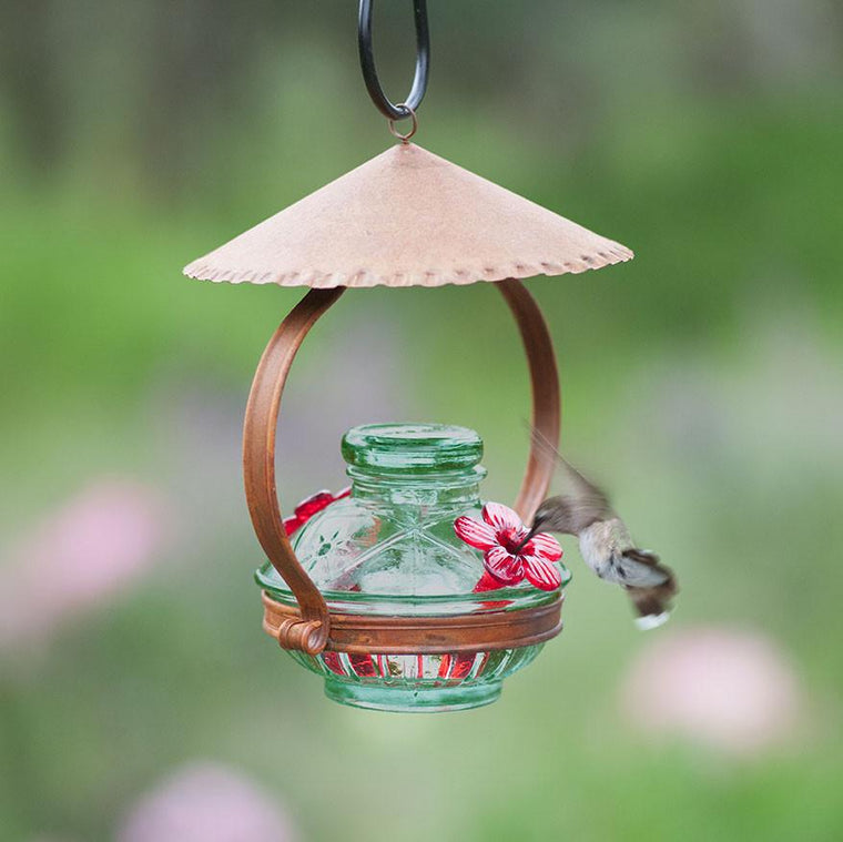 Pot de Creme Shelter Hummingbird Feeder - Green-Parasol Gardens-Top Notch Gift Shop