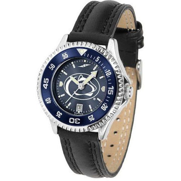Penn State Nittany Lions Ladies Competitor Ano Poly/Leather Band Watch w/ Colored Bezel