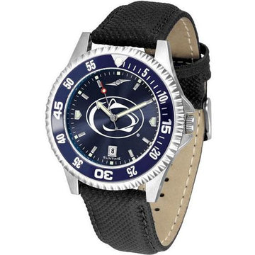 Penn State Nittany Lions Mens Competitor Ano Poly/Leather Band Watch w/ Colored Bezel