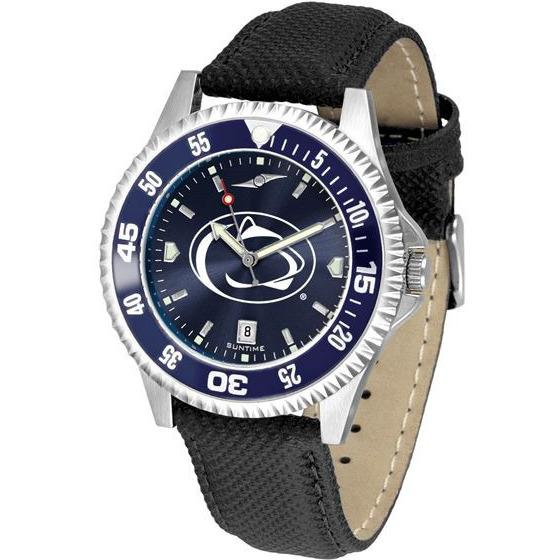Penn State Nittany Lions Mens Competitor Ano Poly/Leather Band Watch w/ Colored Bezel-Watch-Suntime-Top Notch Gift Shop