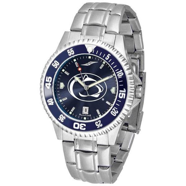 Penn State Nittany Lions Mens Competitor AnoChrome Steel Band Watch w/ Colored Bezel-Watch-Suntime-Top Notch Gift Shop