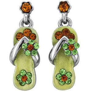 Peridot Green Crystal Flip Flop Earrings in White Gold Plate-Sandals For Your Neck-Top Notch Gift Shop
