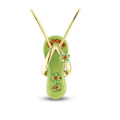 Peridot Green Flower Strap Flip Flop Necklace in Gold Plate-Sandals For Your Neck-Top Notch Gift Shop