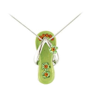 Peridot Green Flower Strap Flip Flop Necklace in Silver-Sandals For Your Neck-Top Notch Gift Shop