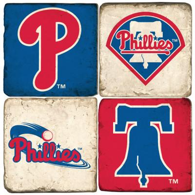 Philadelphia Phillies Italian Marble Coasters with Wrought Iron Holder (set of 4)-Coasters-Studio Vertu-Top Notch Gift Shop