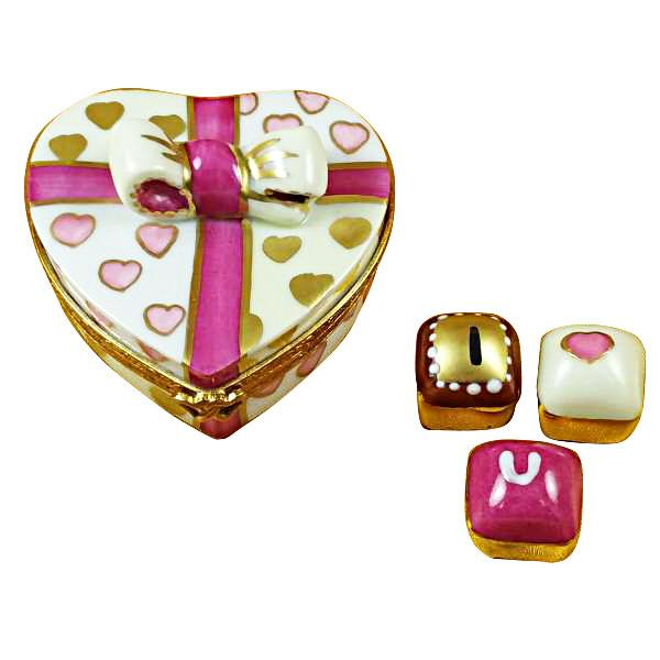 Pink Heart With Three Chocolates Limoges Box by Rochard-Limoges Box-Rochard-Top Notch Gift Shop