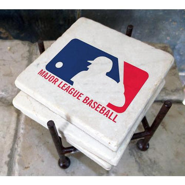 Philadelphia Phillies Italian Marble Coasters with Wrought Iron Holder (set of 4)