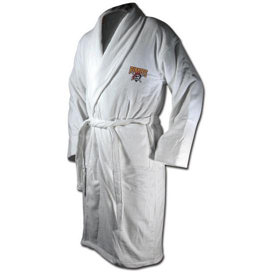 "Pittsburgh Pirates Terrycloth ""Pirate"" Logo Bathrobe - White-Bathrobe-Wincraft-Top Notch Gift Shop"