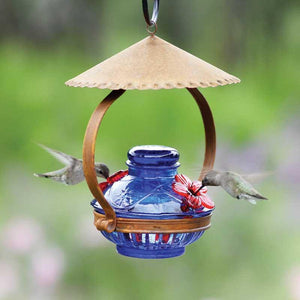 Pot de Creme Shelter Hummingbird Feeder - Blue-Bird Feeder-Parasol Gardens-Top Notch Gift Shop