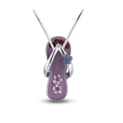 Powder Purple Flower Strap Flip Flop Necklace in Silver-Sandals For Your Neck-Top Notch Gift Shop
