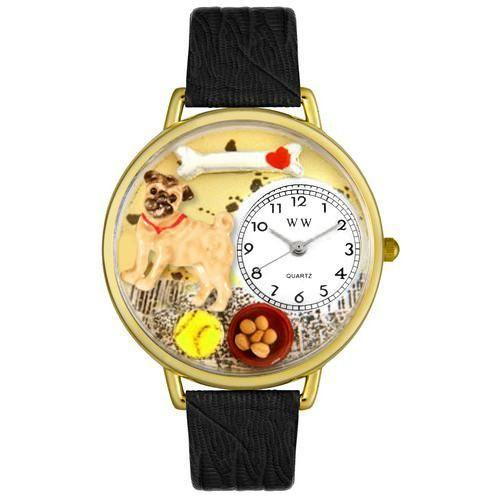 Pug Watch in Gold (Large)-Watch-Whimsical Gifts-Top Notch Gift Shop