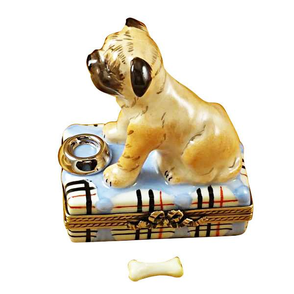 Pug With Spilt Water And Removable Bone Limoges Box by Rochard-Limoges Box-Rochard-Top Notch Gift Shop