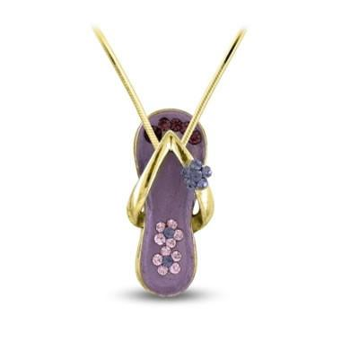 Purple Flower Strap Flip Flop Necklace in Gold Plate-Sandals For Your Neck-Top Notch Gift Shop