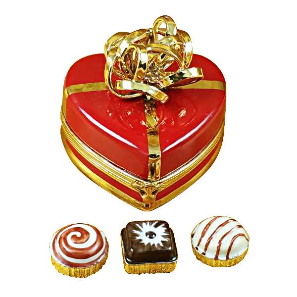 Red Heart with Gold Bow and Truffle LImoges Box by Rochard by Rochard-Limoges Box-Rochard-Top Notch Gift Shop