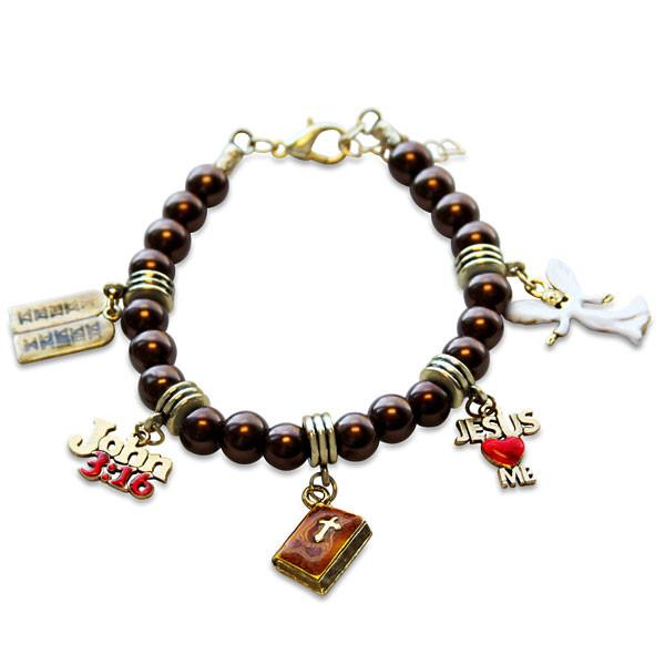Religious Charm Bracelet in Gold-Whimsical GiftsTop Notch Gift Shop
