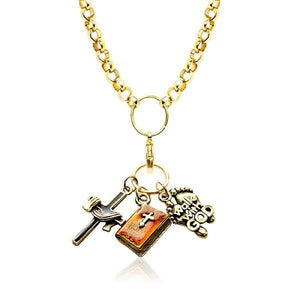 Religious Charm Necklace in Gold-Necklace-Whimsical Gifts-Top Notch Gift Shop