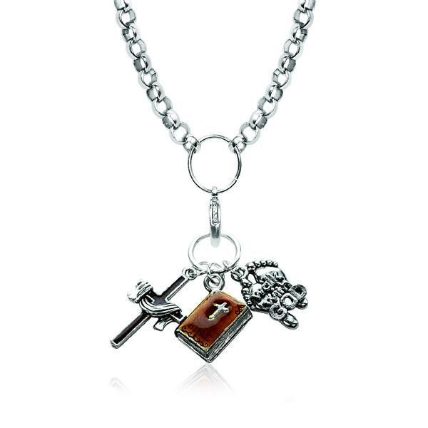 Religious Charm Necklace in Silver-Whimsical GiftsTop Notch Gift Shop