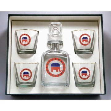 Republican Elephant 5 Piece Decanter Set