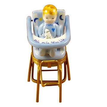 Baby High Chair Blue Limoges Box  by Rochard