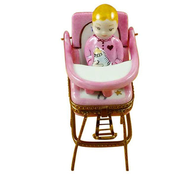 Baby High Chair - Pink Limoges Box  by Rochard