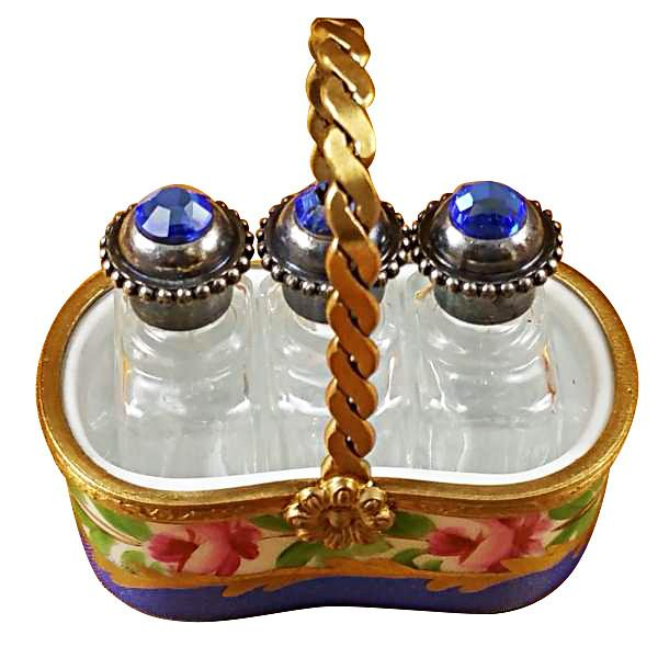 Basket W/Three Perfume Bottles Limoges Box by Rochard™-Rochard-Top Notch Gift Shop