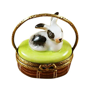 Basket with Mini Rabbit Limoges Box by Rochard™